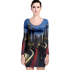 Building And Red And Yellow Light Road Time Lapse Long Sleeve Velvet Bodycon Dress