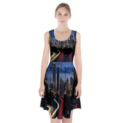 Building And Red And Yellow Light Road Time Lapse Racerback Midi Dress