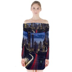 Building And Red And Yellow Light Road Time Lapse Long Sleeve Off Shoulder Dress