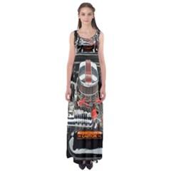 Car Engine Empire Waist Maxi Dress