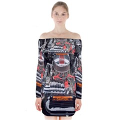 Car Engine Long Sleeve Off Shoulder Dress