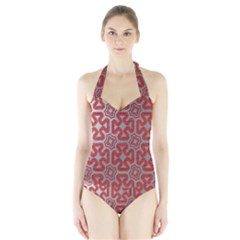 Christmas Wrap Pattern Halter Swimsuit