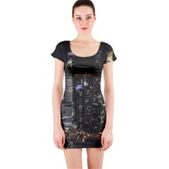 City At Night Lights Skyline Short Sleeve Bodycon Dress