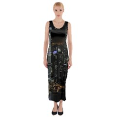 City At Night Lights Skyline Fitted Maxi Dress