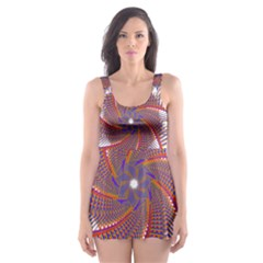 Colorful Prismatic Chromatic  Skater Dress Swimsuit