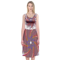 Colorful Prismatic Chromatic  Midi Sleeveless Dress