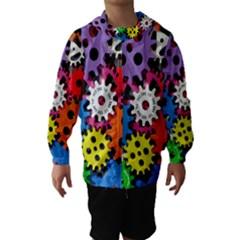 Colorful Toothed Wheels Hooded Wind Breaker (Kids)