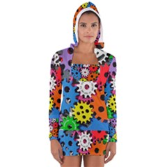 Colorful Toothed Wheels Women s Long Sleeve Hooded T-shirt
