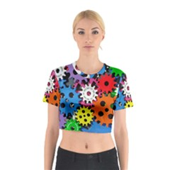 Colorful Toothed Wheels Cotton Crop Top