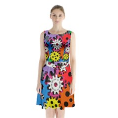 Colorful Toothed Wheels Sleeveless Chiffon Waist Tie Dress
