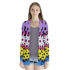 Colorful Toothed Wheels Drape Collar Cardigan