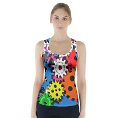 Colorful Toothed Wheels Racer Back Sports Top