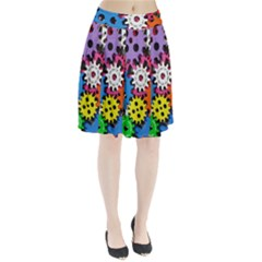 Colorful Toothed Wheels Pleated Skirt