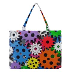 Colorful Toothed Wheels Medium Tote Bag