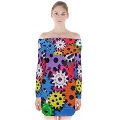 Colorful Toothed Wheels Long Sleeve Off Shoulder Dress