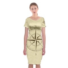 Compass Vintage South West East Classic Short Sleeve Midi Dress