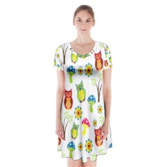 Cute Owl Wallpaper Pattern Short Sleeve V-neck Flare Dress