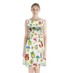 Cute Owl Wallpaper Pattern Sleeveless Chiffon Waist Tie Dress