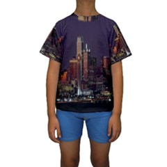Dallas Texas Skyline Dusk Kids  Short Sleeve Swimwear