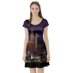 Dallas Texas Skyline Dusk Short Sleeve Skater Dress