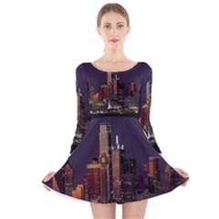 Dallas Texas Skyline Dusk Long Sleeve Velvet Skater Dress