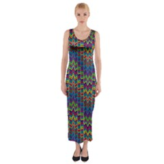 Decorative Ornamental Abstract Fitted Maxi Dress