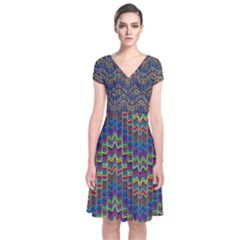 Decorative Ornamental Abstract Short Sleeve Front Wrap Dress
