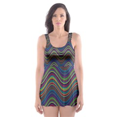 Decorative Ornamental Abstract Skater Dress Swimsuit