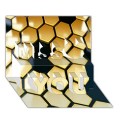Honeycomb Yellow Rendering Ultra Miss You 3D Greeting Card (7x5)