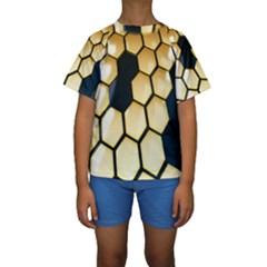 Honeycomb Yellow Rendering Ultra Kids  Short Sleeve Swimwear