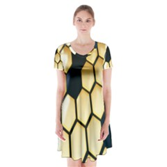 Honeycomb Yellow Rendering Ultra Short Sleeve V-neck Flare Dress