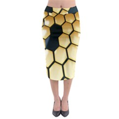 Honeycomb Yellow Rendering Ultra Midi Pencil Skirt