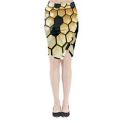 Honeycomb Yellow Rendering Ultra Midi Wrap Pencil Skirt