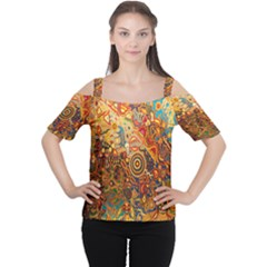 Ethnic Pattern Women s Cutout Shoulder Tee
