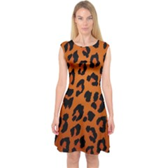 Leopard Patterns Capsleeve Midi Dress