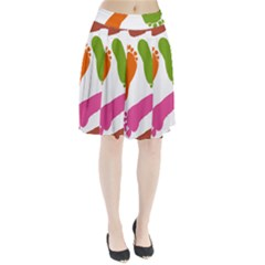 Lip Handprint Pleated Skirt