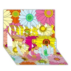 Floral Background  Miss You 3D Greeting Card (7x5)
