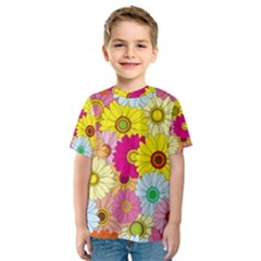Floral Background  Kids  Sport Mesh Tee