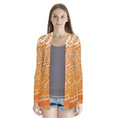 Map Art Drape Collar Cardigan