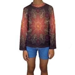 Floral Kaleidoscope Kids  Long Sleeve Swimwear