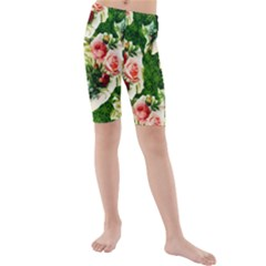 Floral Collage Kids  Mid Length Swim Shorts