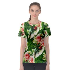 Floral Collage Women s Sport Mesh Tee