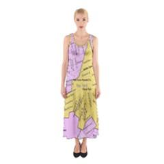Floral Park Ny Map Sleeveless Maxi Dress