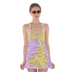Floral Park Ny Map Halter Swimsuit Dress