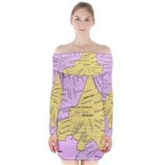 Floral Park Ny Map Long Sleeve Off Shoulder Dress