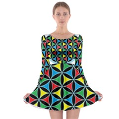 Flower Of Life 4 Color Triangles Long Sleeve Skater Dress