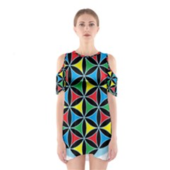 Flower Of Life 4 Color Triangles Cutout Shoulder Dress