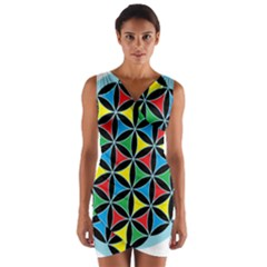 Flower Of Life 4 Color Triangles Wrap Front Bodycon Dress