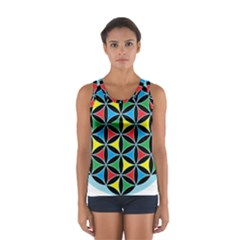 Flower Of Life 4 Color Triangles Women s Sport Tank Top