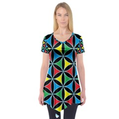 Flower Of Life 4 Color Triangles Short Sleeve Tunic